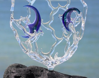 Angelfish in coral glass sculpture