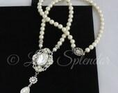 Pearl Bridal Necklace Wedding Necklace Swarovski Pearl Wedding Jewelry Crystal Pendant Necklace Bridal Jewelry RYAN NECKLACE