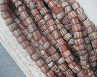 Striped seed glass beads, opaque pink rosy brown, white  pattern, small spacer barrel tube, New Indop-pacific 3 to 6mm (10 inch) 3BBGL19-15