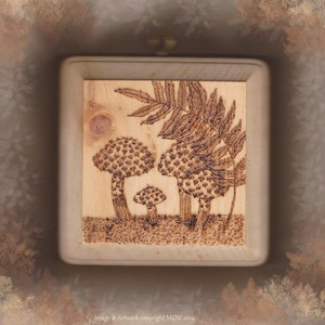 Plaque Woodburned Mushrooms Old Man Of the Woods Woodland Rustic