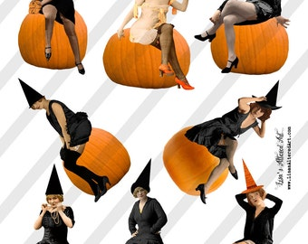 Digital Collage Sheet Vintage Halloween Images Lovely Witches on Pumpkins (Sheet No.O226) Instant Download