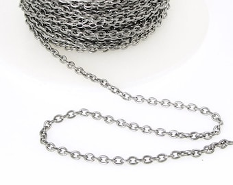 Delicate Antique Silver Chain - TierraCast 2mm x 3mm Fine Link Cable Chain - Loose Dark Silver Chain for Jewelry and Necklaces 20-0725-12