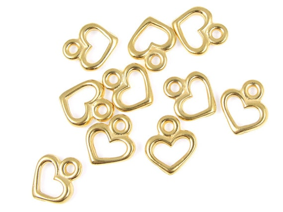 Gold Heart Charms Gold Charms for Valentine's Day Charms TierraCast OPEN HEART Drops Small Tiny Charms Bracelet Charms Jewelry Charms (P120)
