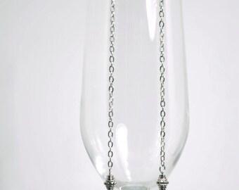 Super Long Silver Bead Earrings