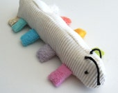 Organic Baby Rattle Inchworm Infant Toy Pastel Rainbow Color Teether