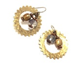 Victorian Bohemian Cogs and Pearls Brass Earrings