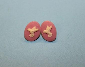 Small Pink Hummingbird Cameo Earrings
