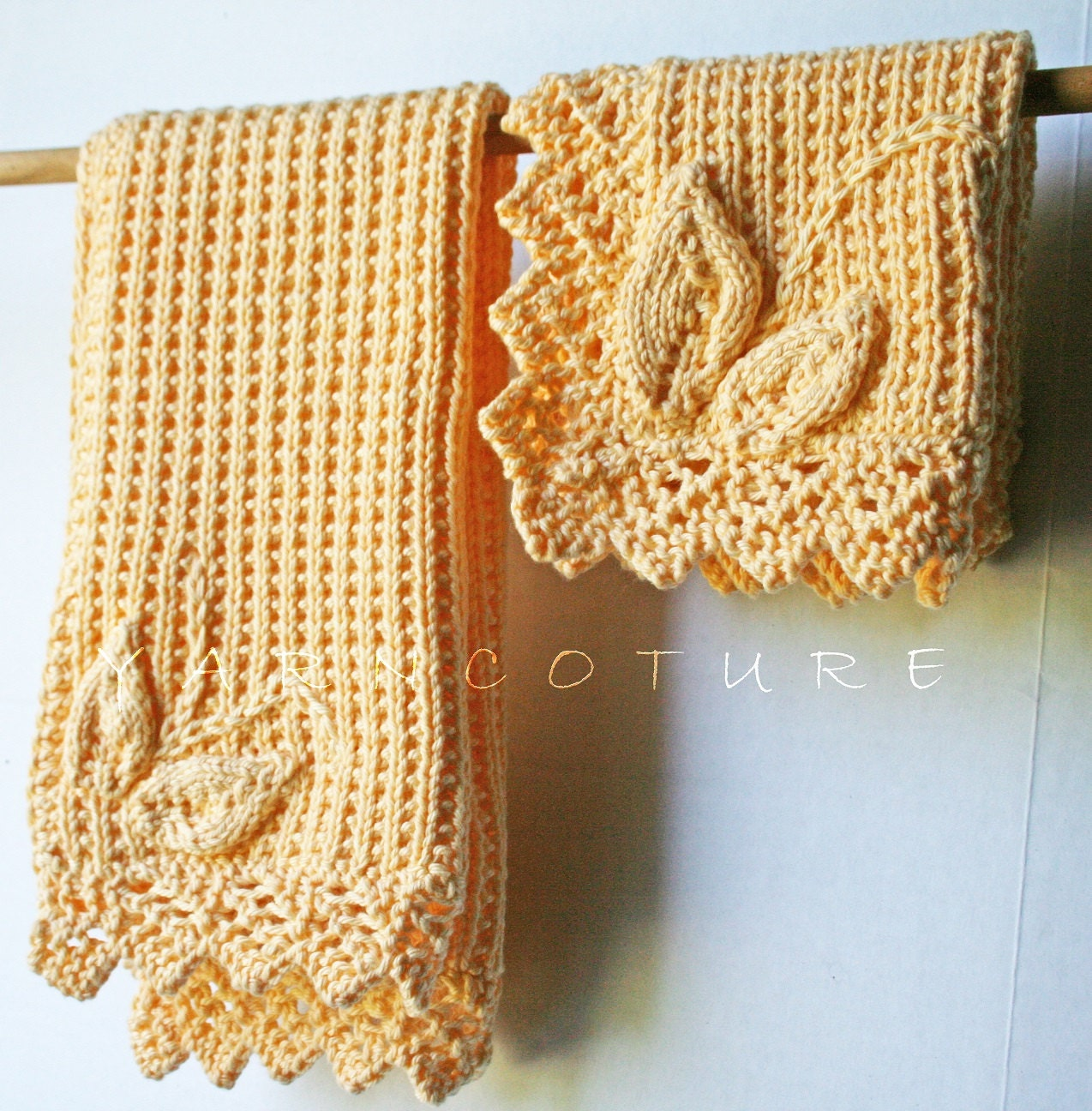 Hand Knit Leaf Garden Washcloth And Hand Towel Set w/Lace