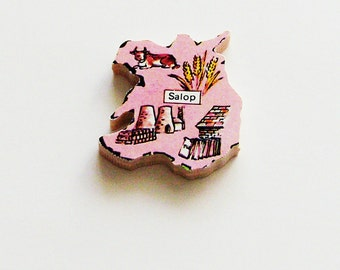 SALOP England Brooch - Lapel Pin - Pendant / Pink Wood Brooch / Upcycled 1960s Wood Puzzle Piece / Wearable History Pin / Gift Under 20