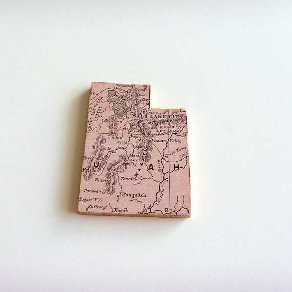 Utah Brooch - Lapel Pin / Upcycled Antique 1907 Rand McNally Wood Piece / Unique Wearable History Gift Idea / Timeless Gift Under 50