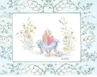 2 Spring Post Cards, Easter Card, Girl Reading Postcard, 4.25 X 5.5, Robins Egg Blue