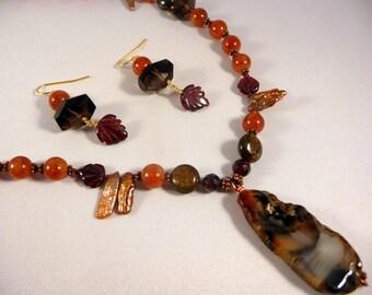 SALE Sepia Landscape Set - Montana Agate, Garnet, Freshwater Pearl, Smoky Quartz Gemstone Necklace & Earrings
