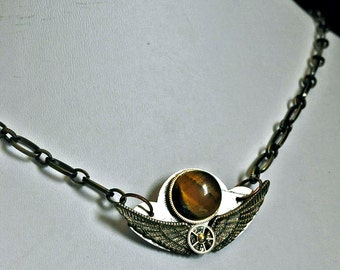Tigereye gemstone  big wings necklace pendant recycled watch parts steampunk  art sculpture