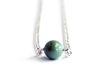 Jade green delicate minimal Swarovski pearl necklace on silver chain