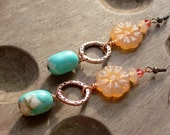 WILD FLOWER - Turquoise & Copper Earrings with Pastel Peach FLOWERS, Country Girl, Romantic Shabby chic