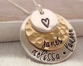 Layered Love III  mixed metal necklace - hand stamped necklace - personalized necklace - mothers necklace