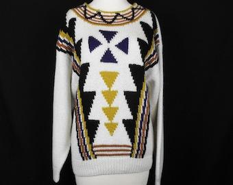 Vintage White Tribal Pattern Tunic Sweater L