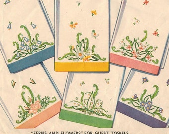 1940s Simplicity 7210 UNCUT Vintage Embroidery Transfer Ferns and Flowers