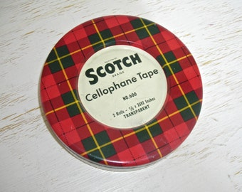 scotch tape tin with plaid lid - metal box held 2 rolls of cellophane tape - urban industrial storage - retro mad men office decor