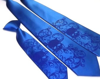 RokGear Mens necktie and boys matching necktie Distressed Skull design by RokGear