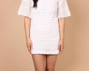 Vintage 70s Cream White Crochet Lace Mini Dress - XS/S