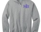 Monogram Pullover Sweatshirt  1/4 Quarter Zip Custom Embroidery Personalized Christmas Gift Under 50 Dollars
