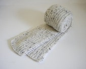 White Tweed Scarf / Hand Knit Scarf / Not Wool Knit Scarf / Winter White Scarf / White Knitted Scarf
