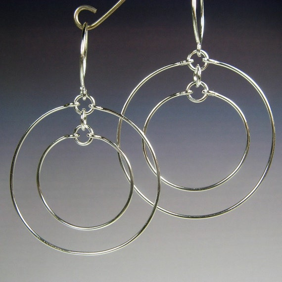 Concentric Circle Earrings: CONCENTRIC HOOP EARRINGS, Sterling Silver Double Circle
