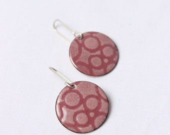 Enamel Pink earrings,  Round Bubble Earrings in Enamels roses, Sterling silver and copper