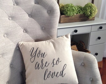 You Are So Loved Pillow Cover in Natural Linen