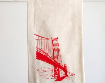 Flour Sack Dish Towel - Golden Gate Bridge in red ink - San Francisco Bay Area Landmark