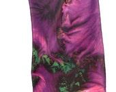 "SILK SCARF  -  ""Flowering Kale"" Fine Art Vegetable Image on Habotai Silk  - 14"" x 72"" - wearable art"