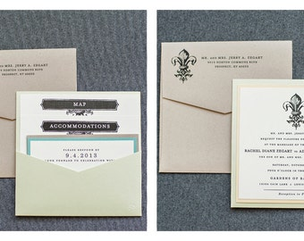 Kraft Invitation, Pastel Wedding Invitation, Southern Wedding Invitation, Fleur De Lis Wedding Invitation - Rachel and Adam