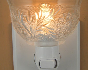Tiara Sandwich Glass Clear Tea Cup  WITHOUT A HANDLE Custom  Night Light
