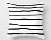 Throw Pillow  - Outdoor Cover - Striped Black and White - Unique handmade asimetric