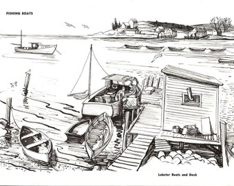 Nautical Print - Vintage Boat Print - Fishing Boat Print - Ink Drawing Book Plate - Lobster Boat and Dock - Motor Sailor Rigs - 1970s