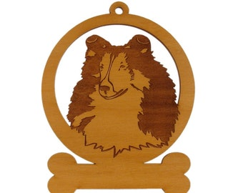 083936 Sheltie Head 2 Dog Ornament Personalized With Your Dog's Name