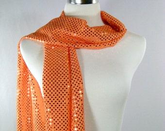 Holiday - Orange Party Scarf -  Scarf - Orange Sequin Scarf - Shiny Orange Sequin Scarf - Dressy Long Scarf - Orange Sequin Wrap