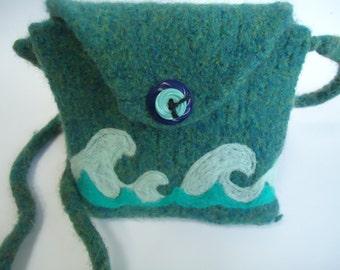 Sea Green Felted Wool Purse