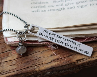 sterling silver custom stamped message tag necklace ~ your own custom stamping, perfect inspiring gift for a graduate