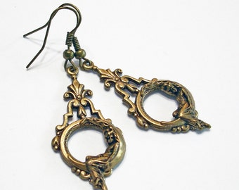 She Hung the Moon Bronze Dangle Earrings Crescent Moon Jewelry