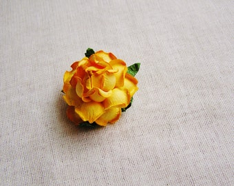 Golden Yellow Garden Rose Millinery flower Brooch Pin- wedding corsage boutonniere, paper jewelry, decoration, embellishment