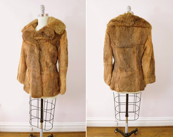 1970s Elan Rabbit Fur Coat Size M/L