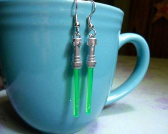 SALE Green Lightsaber Earrings