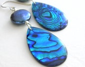Blue Abalone Earrings, Peacock Coin Pearls, Deep Blue Sea Shell Jewelry