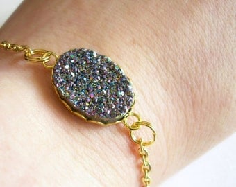 Rainbow Druzy Bracelet, Gold Chain Jewelry, Raw Crystal Bracelet