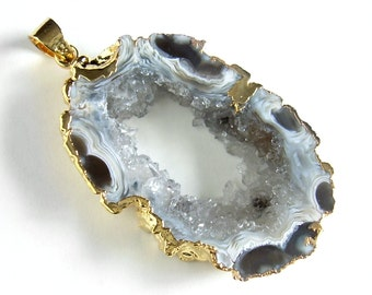 Long Geode Necklace, Agate Druzy Slice Pendant, Gold Chain, Trendy Jewelry