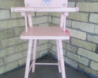 Vintage1950's Pink Childrens Toy Highchair with Lamb Detail