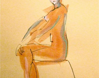 Nude painting- #1003 - original watercolor painting by Gretchen Kelly