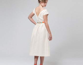 V-Back Dress - 'Riverina' Silk/Linen Dress with Watercolour Waistband